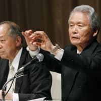 Co-chairs of a committee commissioned by Nissan to improve its governance, lawyer Seiichiro Nishioka (left) and Sadayuki Sakakibara, the former chairman of business lobby Keidanren, give a news conference in Yokohama on Wednesday. | KYODO