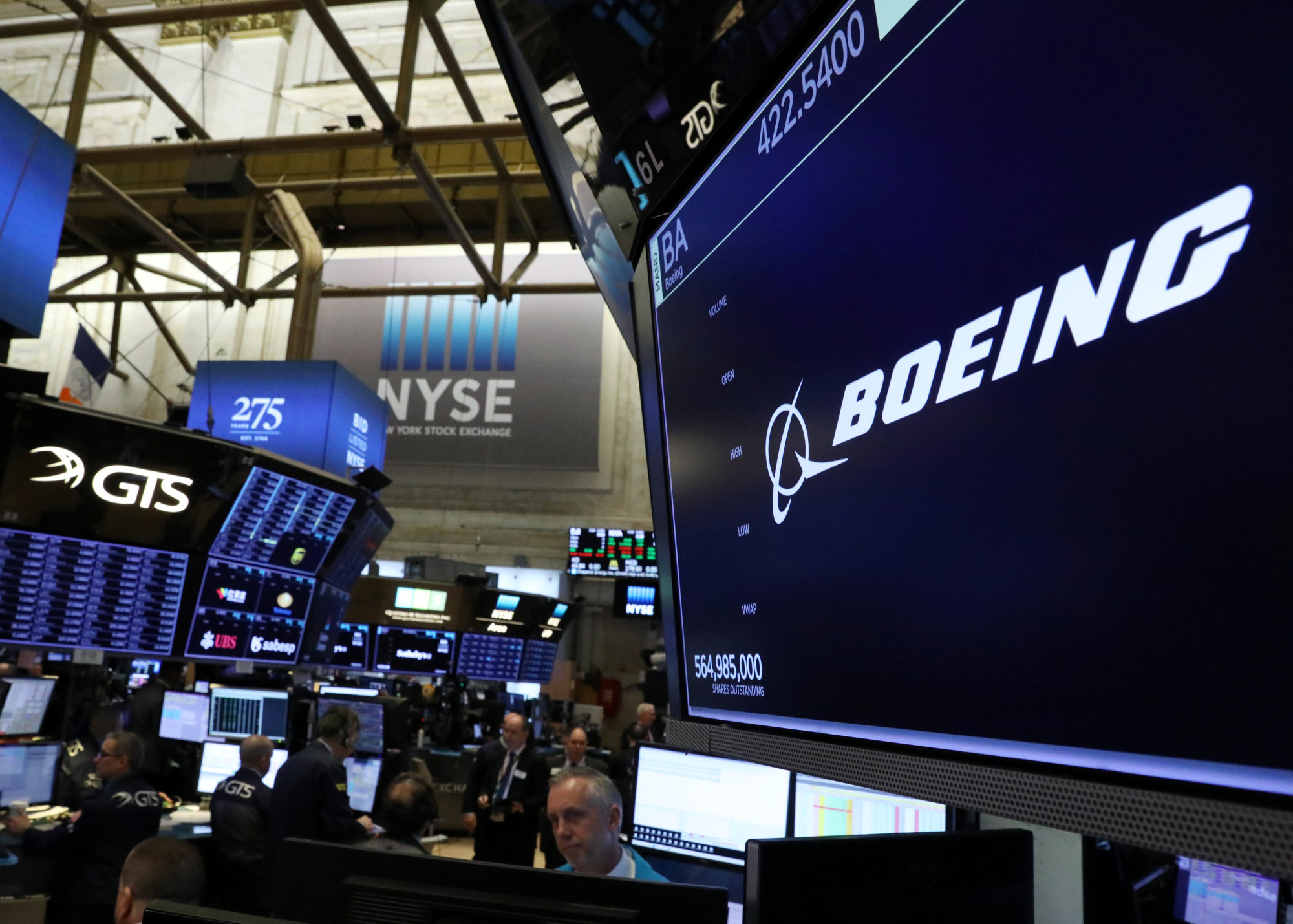 The company logo for Boeing is displayed on a screen on the floor of the New York Stock Exchange (NYSE) in New York Monday. | REUTERS