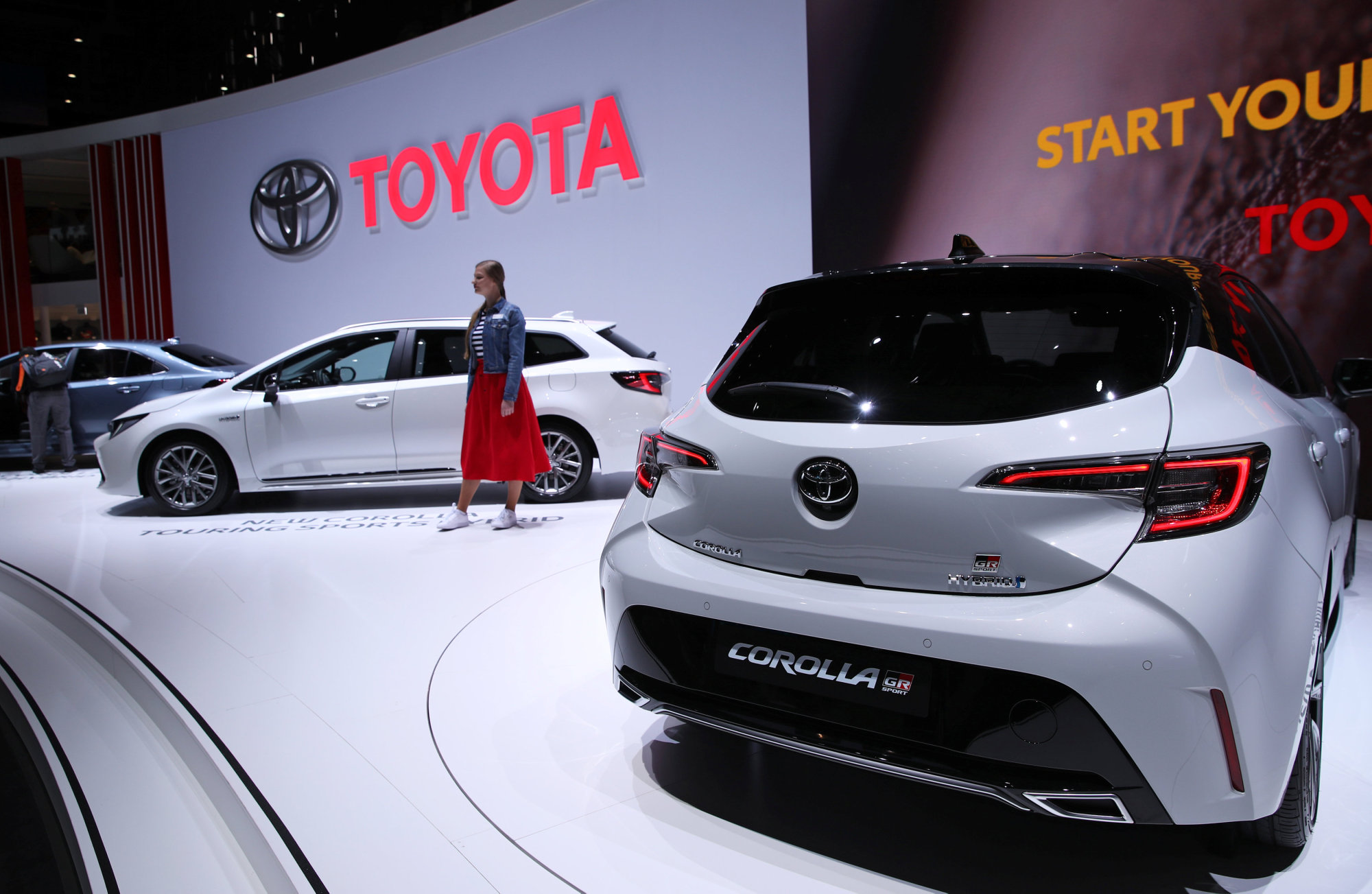 The new Toyota Corolla is displayed at the 89th Geneva International Motor Show on Tuesday.   REUTERS