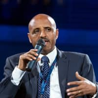 Ethiopian Airlines Chief Executive Officer Tewolde Gebremariam speaks at the Africa CEO Forum in Kigali Monday. | REUTERS
