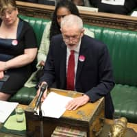 Britain's opposition Labour Party leader, Jeremy Corbyn, speaks in Parliament ahead of a Brexit vote in London Wednesday. | UK PARLIAMENT / MARK DUFFY / HANDOUT / VIA REUTERS