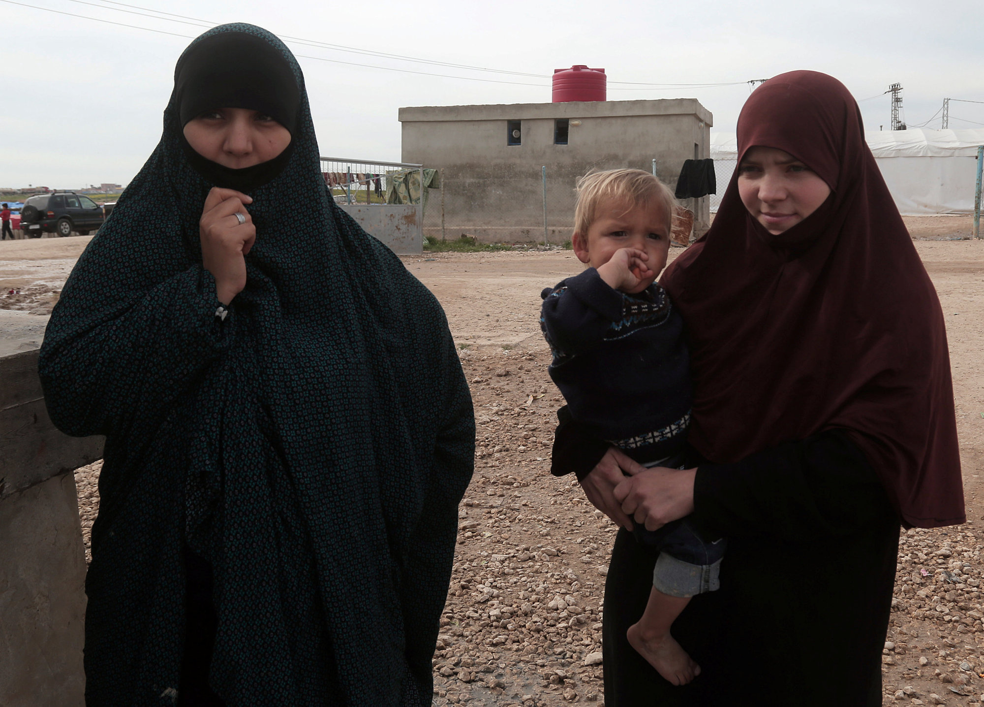 Belgian women Tatiana Wielandt and Bouchra Abouallal, both 26, who joined Islamic State in Syria are pictured in Ain Issa, Syria, Sunday.   REUTERS