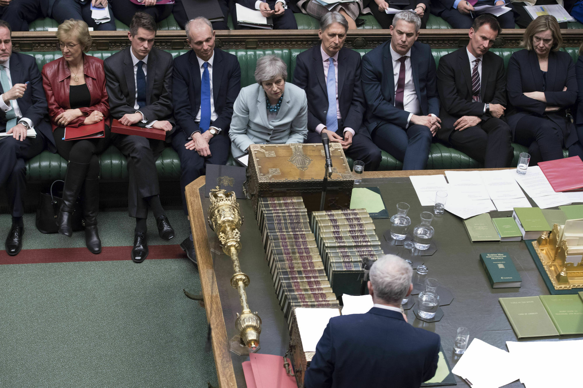 Britain's oposition Labour party leader, Jeremy Corbyn (front), makes a statement after Prime Minister Theresa May made a statement on Brexit to the House of Commons in London Monday. May conceded Monday that Parliament would defeat her twice-rejected Brexit divorce deal again if she put it to a new vote, but said she still hopes to change lawmakers' minds and get the agreement approved. | JESSICA TAYLOR / UK PARLIAMENT / VIA AP