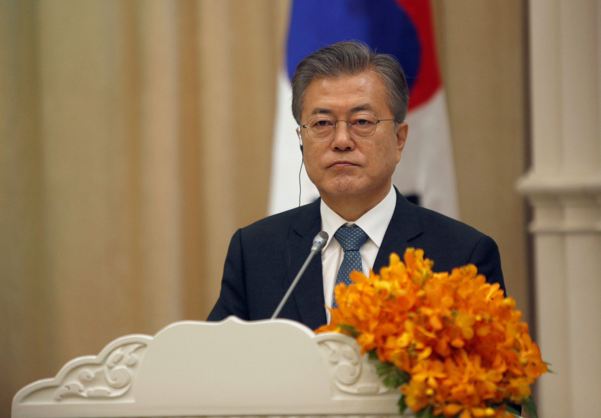 South Korean President Moon Jae-in attends a news conference after a signing ceremony at the Peace Palace in Phnom Penh on Friday. | REUTERS