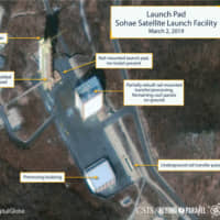The Sohae Satellite Launching Station launchpad features what researchers describe as showing the partially rebuilt rail-mounted rocket transfer structure in a commercial satellite image taken over Tongchang-ri, North Korea, on March 2. | REUTERS