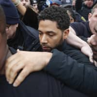 'Empire' actor Jussie Smollett leaves Cook County jail following his release in Chicago on Feb. 21. | AP