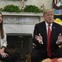 President Donald Trump speaks during a meeting with Fabiana Rosales, a Venezuelan activist who is the wife of Venezuelan opposition leader Juan Guaido, in the Oval Office of the White House in Washington Wednesday. | AP