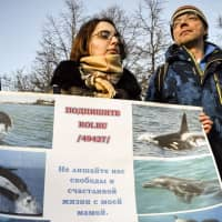 Dmitry Lisitsyn, head of Sakhalin Environmental Watch, Greenpeace activists and supporters rally in Moscow on Feb. 16, demanding the release of orcas and white whales held at a holding facility in the town of Nakhodka. | AFP-JIJI