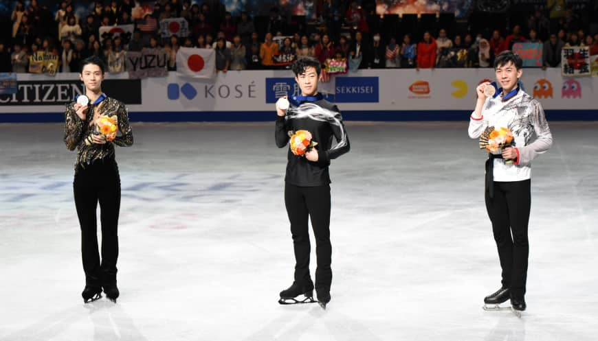 From left: Yuzuru Hanyu, Nathan Chen and Vincent Zhou at the medal ceremony of the 2019 ISU World Figure Skating championships.