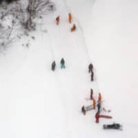 Rescuers are seen on a slope in Nasu, Tochigi Prefecture, in March 2017 following an avalanche that killed eight people. | KYODO