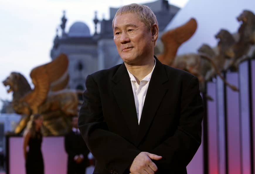 Director Takeshi Kitano arrives at a screening at the Venice Film Festival in September 2005.