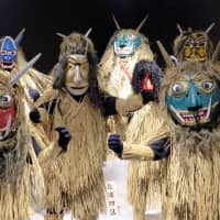 Namahage masks and costumes are displayed at the Namahage Museum in Oga, Akita Prefecture, in February. | REUTERS