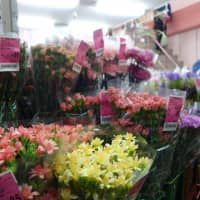 The price tags on the bundles of colorful blooms crowding the storefronts at Ota Shijo are markedly cheaper than what's seen in commercial stores. | ALEX MARTIN