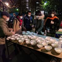 Nonprofit organization Tenohasi provides food, clothing, advice and medical checks for homeless people in Ikebukuro. | ANDREW MCKIRDY
