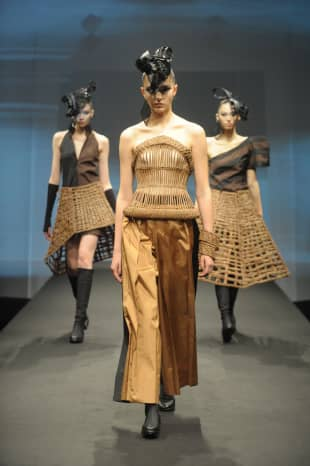 Natural inspiration: Some of the pieces in the Fukushima Pride by Junko Koshino collection utilize grapevine weaving.