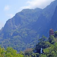 Hiking through history: The pagoda at Xiangde Temple in Tianxiang is perched high above the gorge. Other traditional-style structures can be seen and visited throughout the park. | CHRIS RUSSELL