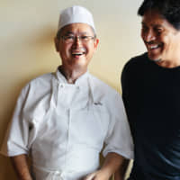 Tokyo to LA: Tetsuya 'Nick' Sakagami (right) with chef Ken Namba at Kiriko Sushi in Los Angeles          'Sushi Master' (Quarry Books, 2019)