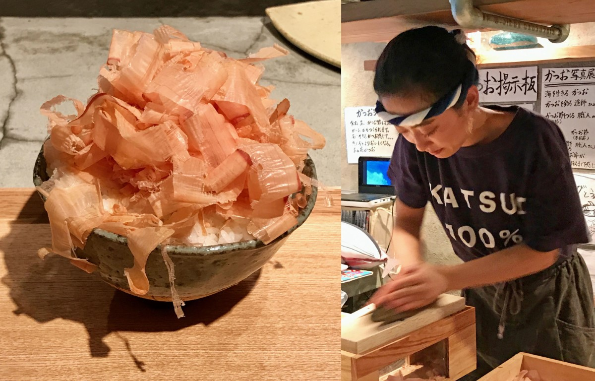 Labor of love: Mai Nagamatsu shaves all her katsuobushi manually to order. Four varieties are kept on hand for diners to sample. | ROBBIE SWINNERTON