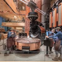 Supplying Starbucks stores across Japan: The Reserve Roastery Tokyo can roast up to 1,800 kilograms of coffee a day between its two roasters.   COURTESY OF STARBUCKS