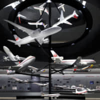 Flying around: Models of Japan Airlines' planes can be seen inside the JAL Sky Museum. | COURTESY OF JAPAN AIRLINES