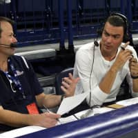 Gonzaga play-by-play announcer Tom Hudson (left) and color analyst Adam Morrison are seen during a broadcast. | GONZAGA ATHLETICS