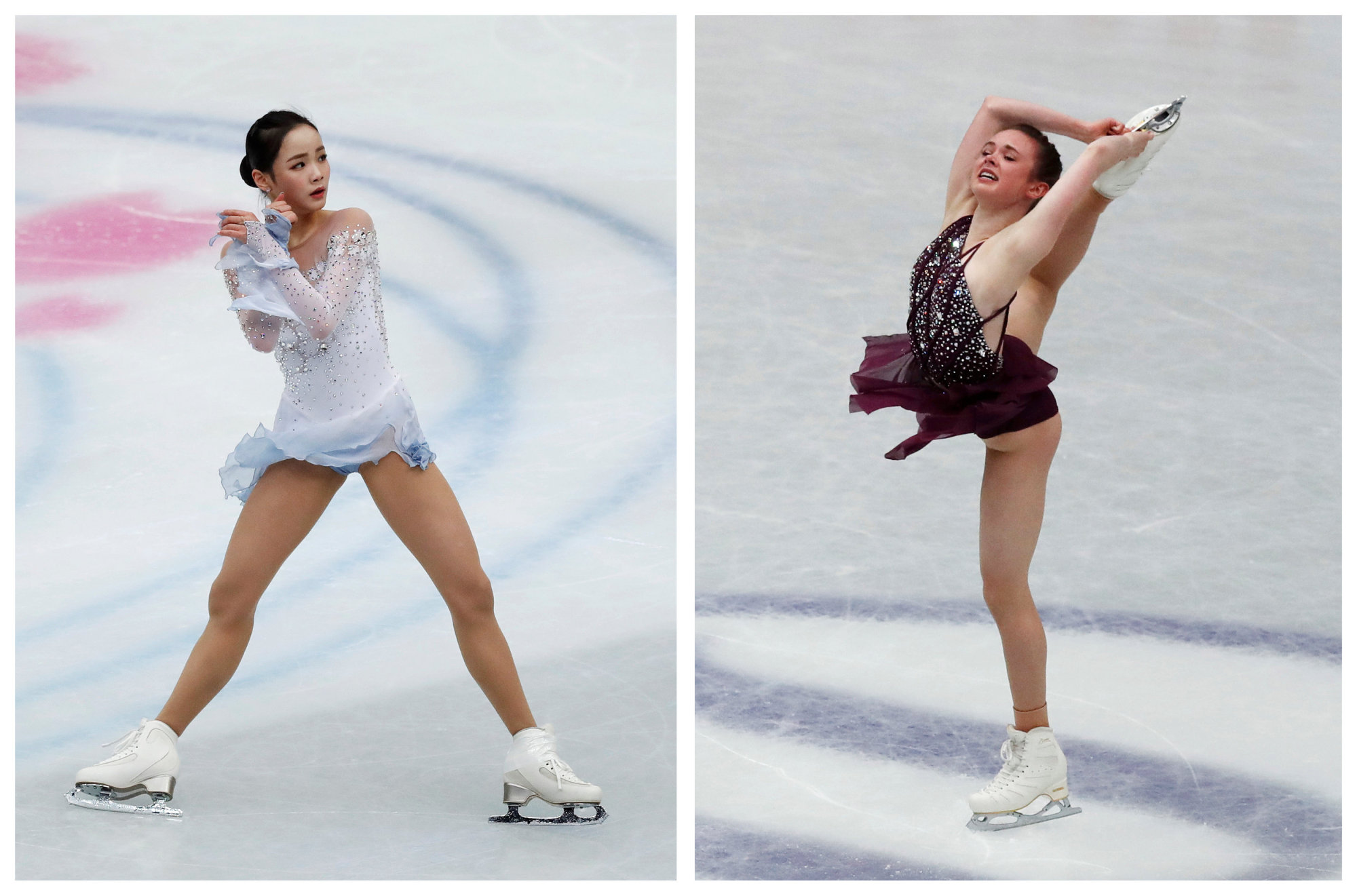 South Korea's Lim Eun-soo (left) and Mariah Bell of the United States are seen at this week's world championships in Saitama. | REUTERS