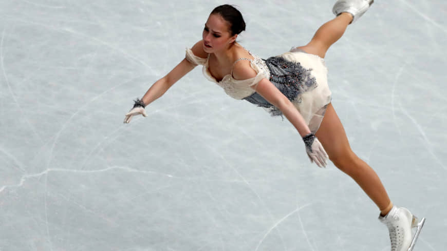 Russia's Alina Zagitova performs her short program at the World Figure Skating Championships on Wednesday at Saitama Super Arena. Zagitova leads the field with 82.08 points.