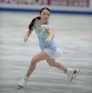 Rika Kihira performs her short program at the world championships on Wednesday. Kihira is in seventh place with 70.90 points.