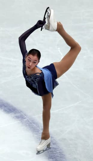 Elizabet Tursynbaeva is in third place with 75.96 points after the women