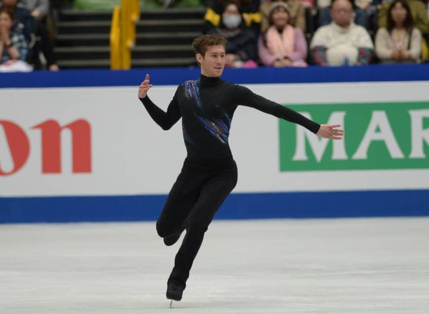 Jason Brown performs his short program at Saitama Super Arena on Thursday. The American skater is in second place after scoring 86.81 points.