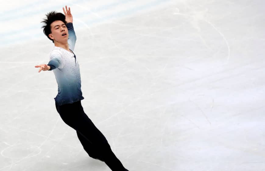 Vincent Zhou performs his short program at the world championships on Thursday. The American is in fourth place with 93.37 points.
