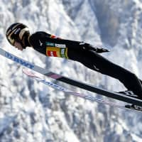 Ryoyu Kobayashi competes in the individual competition in a World Cup ski jumping event in Planica, Slovenia, on Friday. | AP