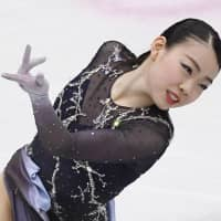 Rika Kihira placed fourth in the women's competition at the world championships with 223.49 points, narrowly missing out on third place. | KYODO