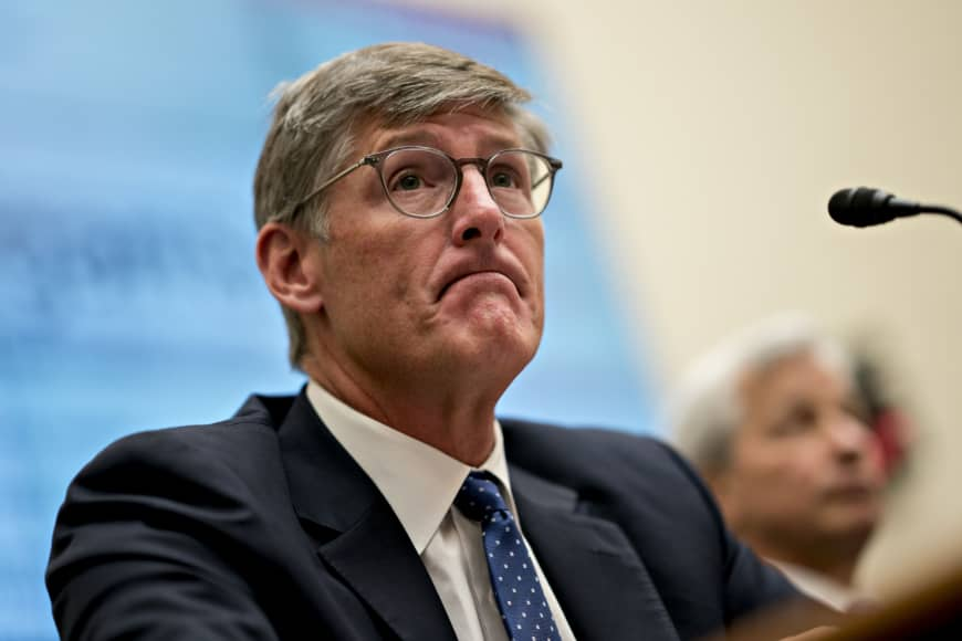 Michael Corbat, chief executive officer of Citigroup Inc., listens during a House Financial Services Committee hearing in Washington Wednesday. A decade after the financial crisis, the chiefs of the largest U.S. banks faced a grilling from lawmakers on everything from income inequality to their ties to politically controversial industries. | BLOOMBERG