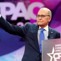 White House economic adviser Larry Kudlow gives a thumbs up after speaking at the Conservative Political Action Conference (CPAC) at National Harbor in Oxon Hill, Maryland, in February. | REUTERS