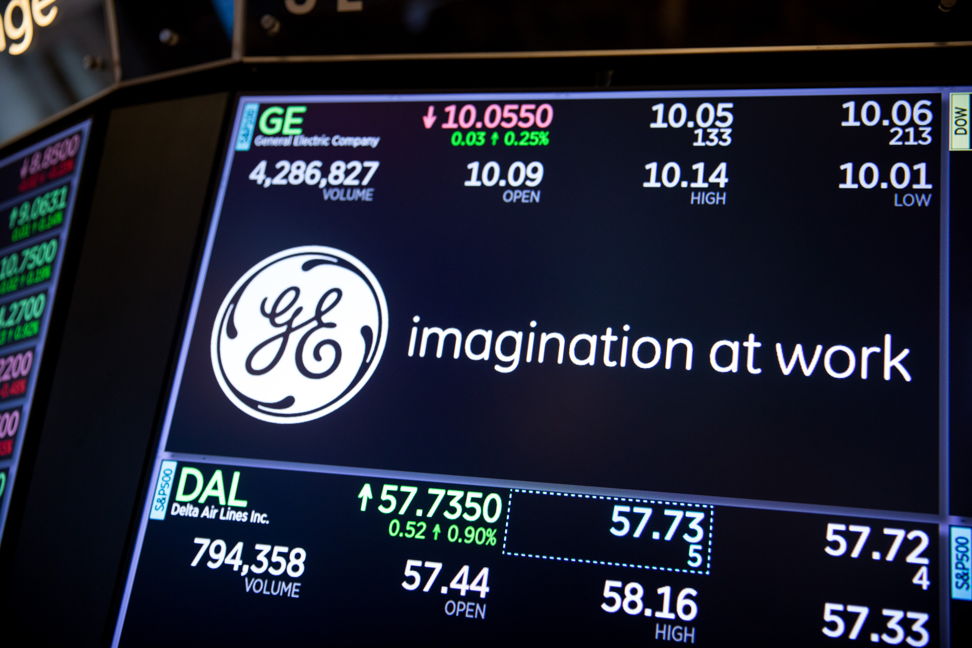 A monitor displays General Electric Co. signage on the floor of the New York Stock Exchange. | BLOOMBERG