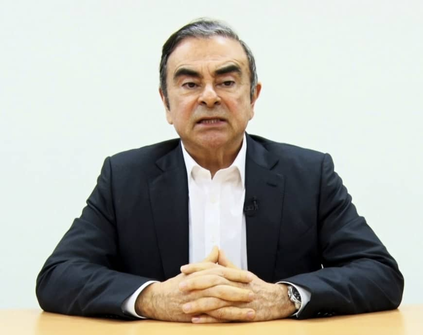 In this image made from video released by Carlos Ghosn via his lawyer on April 9, former Nissan chairman Ghosn speaks on camera in Tokyo.   CARLOS GHOSN / VIA AP