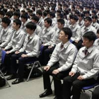 Recruits mark first day at work across Japan as fiscal 2019 begins with new overtime curbs