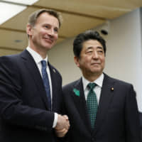 Abe asks U.K. Foreign Secretary Jeremy Hunt to minimize Brexit impact on Japan firms and world