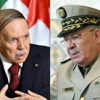 This March 26 photo combo shows Algerian President Abdelaziz Bouteflika (left) and Chief of Staff Gen. Ahmed Gaid Salah. Bouteflika submitted his resignation according to the state TV after Algeria's military on Tuesday demanded the immediate launch of impeachment proceedings against him as it dismissed an announcement he will resign before his mandate expires. | AFP-JIJI