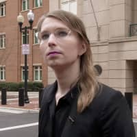 Former U.S. Army intelligence analyst Chelsea Manning speaks to reporters outside the U.S. federal courthouse shortly before appearing before a federal judge and being taken into custody as he held her in contempt of court for refusing to testify before a federal grand jury in Alexandria, Virginia, March 8. | FORED FISCHER / NEWS2 SHARE / VIA REUTERS