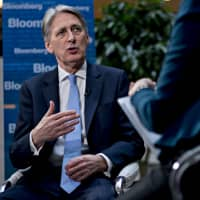 Philip Hammond, U.K. chancellor of the exchequer, speaks during a Bloomberg Television interview at the spring meetings of the International Monetary Fund (IMF) and World Bank in Washington on Friday. | BLOOMBERG