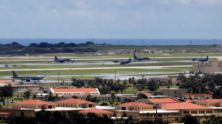 U.S. military planes are seen parked on the tarmac of Andersen Air Force base on the island of Guam, a U.S. Pacific territory, in August 2017.