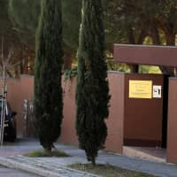A Spanish National Police car is seen outside the North Korean Embassy in Madrid Feb. 28. | REUTERS