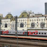 The railway station where North Korean leader Kim Jong Un is expected to arrive Wednesday in the Russian city of Vladivostok | AFP-JIJI