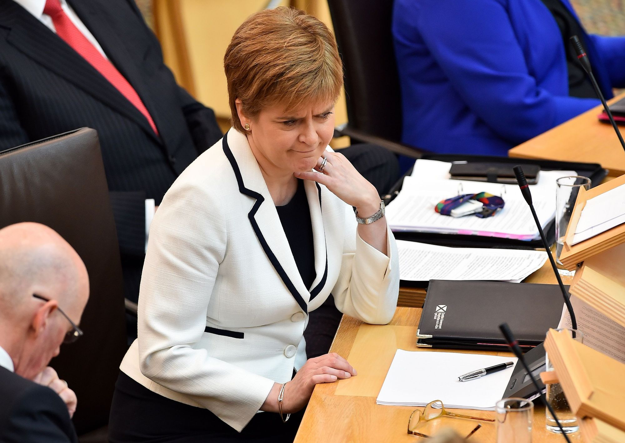 Scotland's First Minister Nicola Sturgeon makes a statement to the Scottish Parliament on Brexit and a second independence referendum, at Holyrood, central Edinburgh, Wednesday. | AFP-JIJI