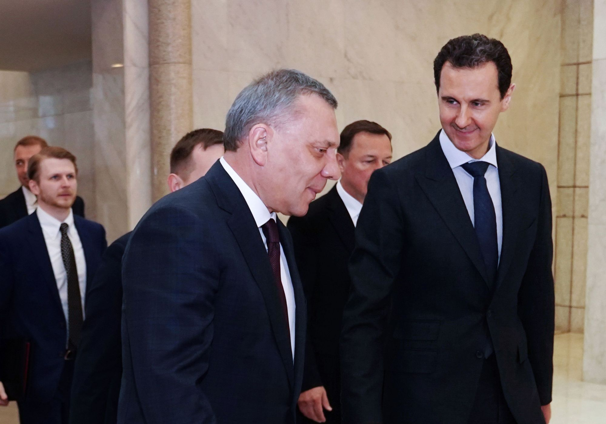 Syrian President Bashar  Assad receives Russian Deputy Prime Minister Yuri Borisov in the capital, Damascus, on Saturday. | AFP-JIJI
