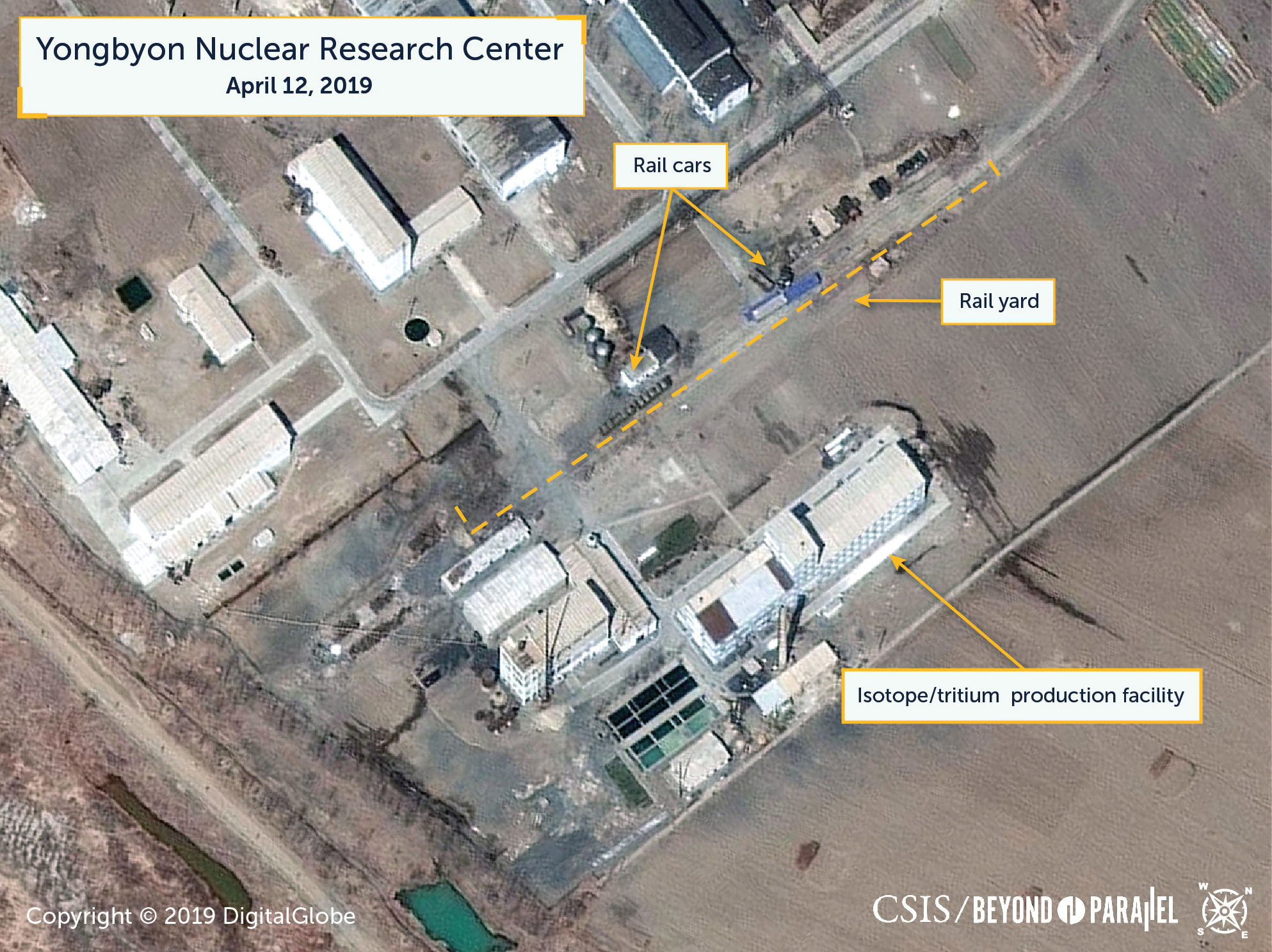 Commercial satellite imagery shows what researchers of Beyond Parallel, a CSIS project, describe as specialized rail cars at the Yongbyon Nuclear Research Center in North Pyongan Province, North Korea, in this image taken April 12 and released Tuesday. | CSIS / BEYOND PARALLEL / DIGITALGLOBE 2019 / VIA REUTERS