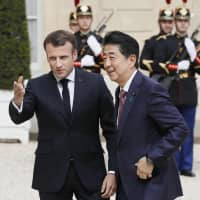 Abe and Macron agree to coordinate ahead of G20, while tiptoeing around Ghosn and Nissan