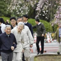 Emperor Akihito and Empress Michiko view cherry blossoms during their walk through the outer Imperial Palace grounds in Tokyo early Sunday morning.   KYODO